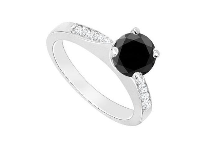 14K White Gold  Black Diamond Engagement Ring 0.75 CT TDW