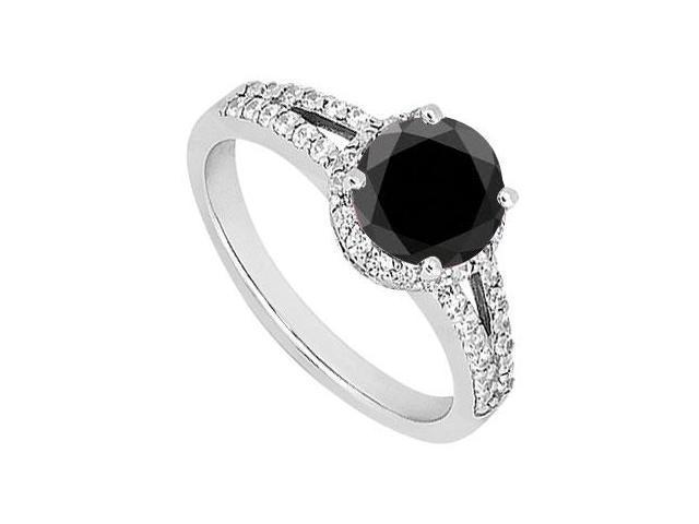 Black Diamond Engagement Ring  14K White Gold 1.50 CT Diamonds