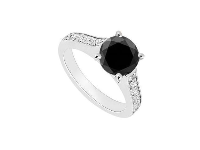 14K White Gold  Black and White Diamond Engagement Ring 0.80 CT TDW
