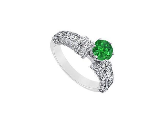 May Birthstone Round Created Emerald  CZ Filigree Engagement Ring 14K White gold 1 CT TGW