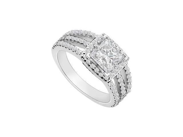 14K White Gold Princess Cut Diamond Engagement Ring 1.25 CT TDW
