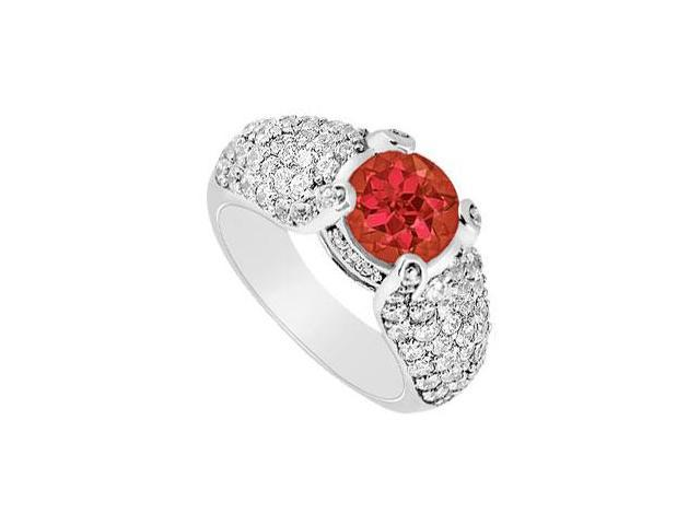 Multirow Side Studded Created Ruby and CZ Halo Ring with Wide Shank 14K White Gold 2.00.ct.tw