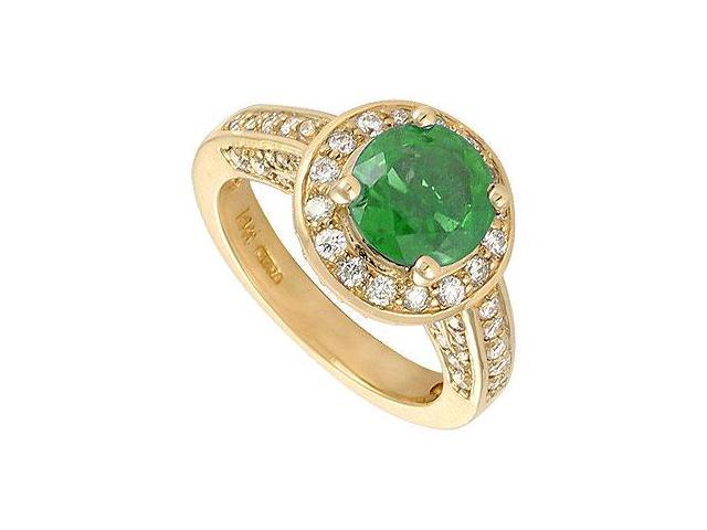 Emerald and Diamond Engagement Ring  14K Yellow Gold - 4.00 CT TGW
