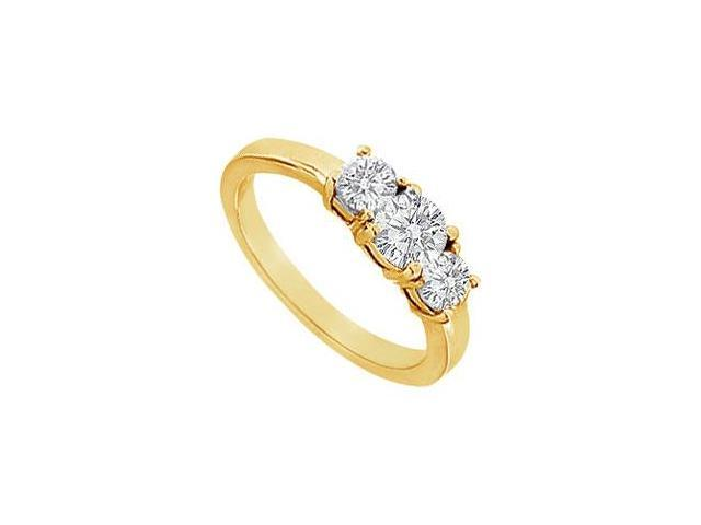Three Stone Diamond Engagement Ring  14K Yellow Gold - 1.00 CT Diamonds
