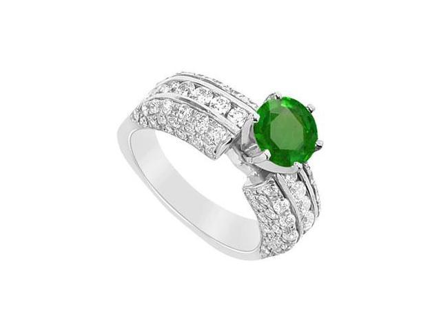 May Birthstone Created Emerald and CZ Engagement Ring in 14K White Gold 3.25 CT TGW