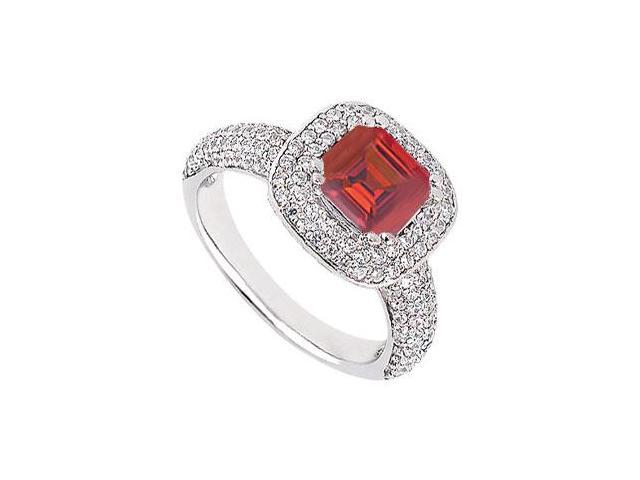 July Birthstone Created Ruby With Multirow CZ Engagement Ring 14K White Gold 1.50.ct.tgw