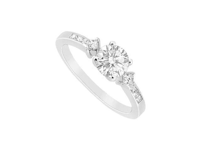 14K White Gold Semi Mount Engagement Ring 0.25 ct. Princess Diamonds Not Included Center Diamond