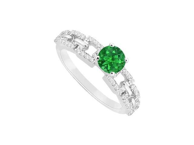 Emerald and Diamond Engagement Ring  14K White Gold - 0.75 CT TGW