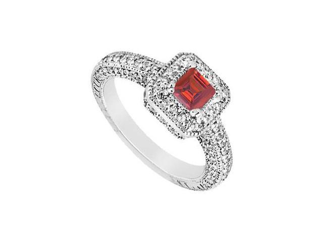 Multirow Created Ruby and CZ Halo Engagement Ring in 14kt White Gold 1.25.ct.tgw