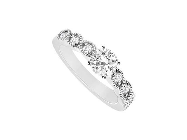 Semi Mount Engagement Ring in 14K White Gold with 0.15 Ct. Diamonds Not Included Center Diamond