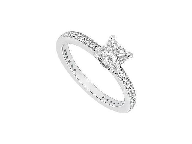 14K White Gold Princess Cut Diamond Engagement Ring 0.60 CT TDW