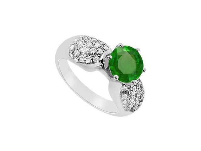 May Birthstone Created Emerald and CZ Cluster Engagement Rings in 14K White Gold 1.5 CT TGW