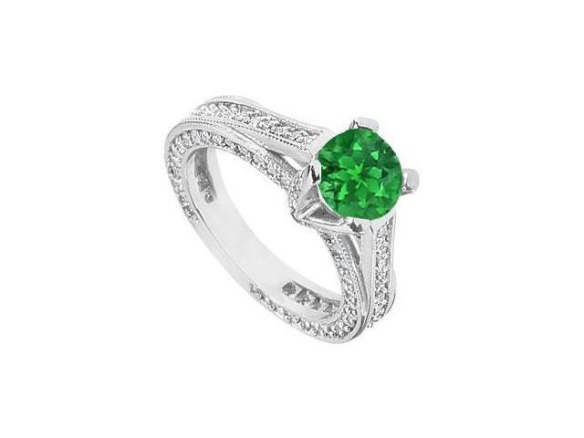 May Birthstone Created Emerald and CZ Filigree Engagement Rings in 14kt White Gold 2.50 CT TGW
