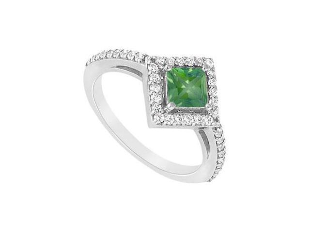 May Birthstone Square Created Emerald and CZ Halo Engagement Ring 14K White gold 1 CT TGW