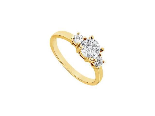 Three Stone Diamond Engagement Ring  14K Yellow Gold - 1.00 CT Diamonds
