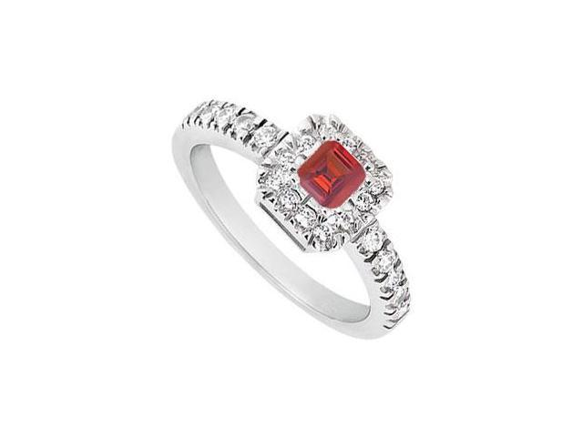July Birthstone Created Ruby and CZ Engagement Ring in 14K White Gold 0.50.ct.tgw
