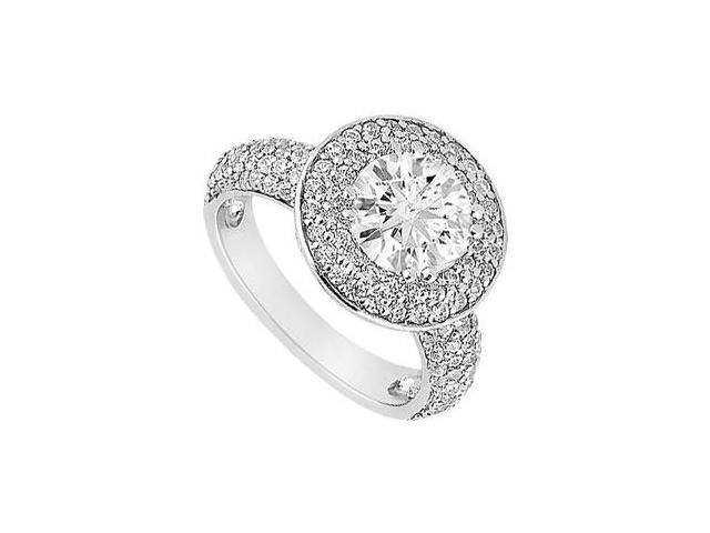 Semi Mount Engagement Ring in 14K White Gold  with 0.75 CT Diamonds Not Included Center Diamond