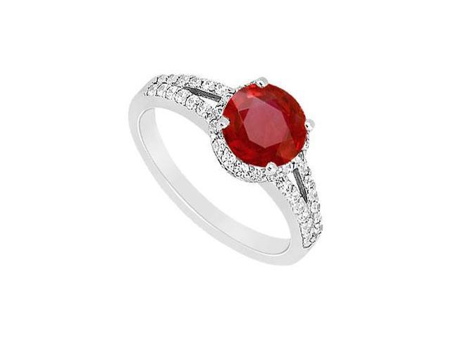 Split Shank Halo Engagement Ring With Centered Created Ruby and CZ in 14K White Gold 1.ct.tgw