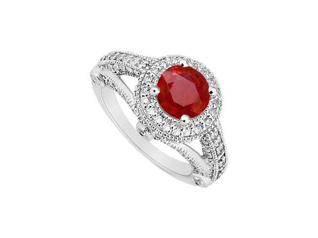 Split Shank July Birthstone Created Ruby and CZ Halo Engagement Ring 14K White Gold 1.50 ct.tw