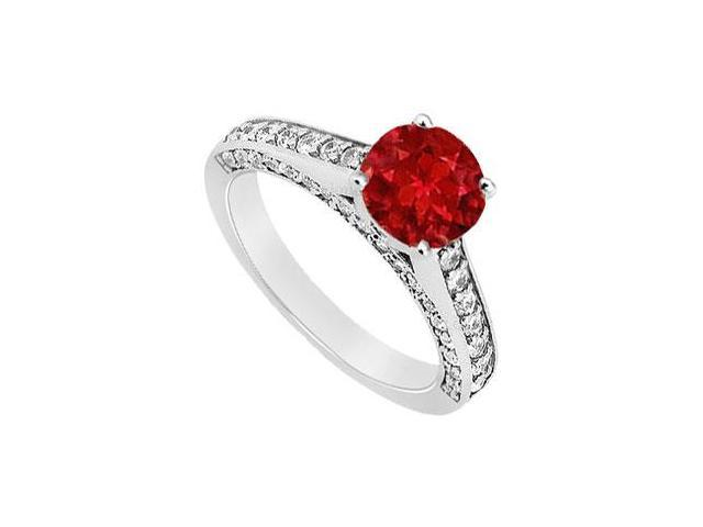 July Birthstone Created Ruby  and CZ Engagement Ring in 14K White Gold 1.25.ct.tgw