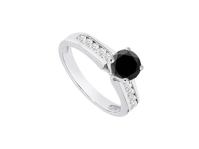 Black  White Diamond Engagement Ring 14K White Gold  0.80 CT TDW