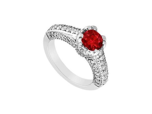 July Birthstone Created Ruby Engagement Ring with Split Prong  Milgrain 14K White Gold