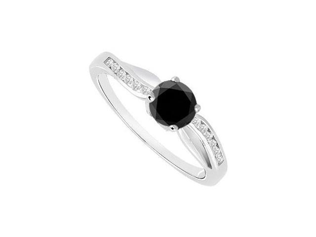 Black  White Diamond Engagement Ring 14K White Gold  0.75 CT TDW