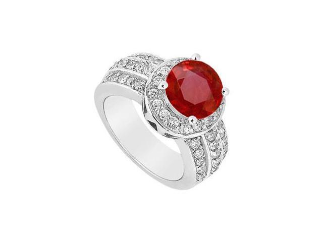 July Birthstone Created Ruby Halo Ring with Three Row CZ in 14K White Gold 1.00.ct TGW