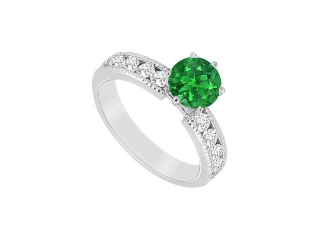 May Birthstone Created Emerald  CZ Engagement Rings in 14K White Gold 1.75 CT TGW