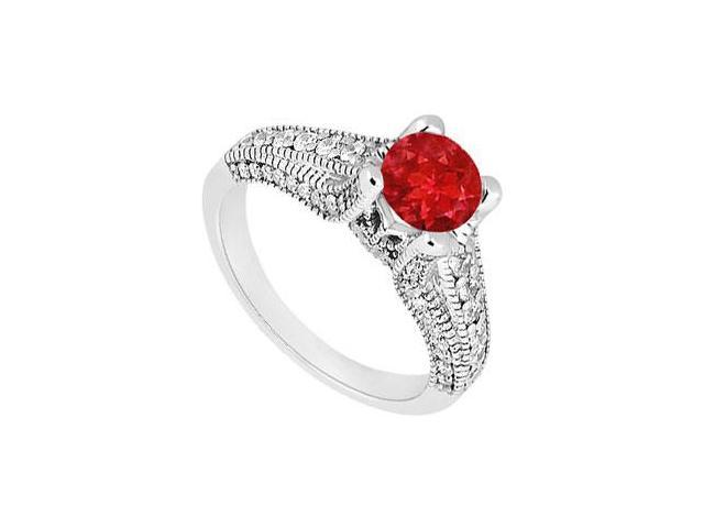 July Birthstone Created Ruby Engagement Ring with Milgrain in 14kt White Gold 1.00.ct TGW.