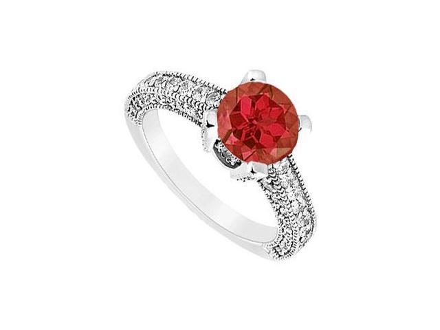 July Birthstone Created Ruby and CZ Milgrain Engagement Ring in 14K White Gold 1.25.ct.tw
