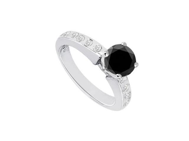 Black  White Diamond Engagement Ring 14K White Gold  0.85 CT TDW