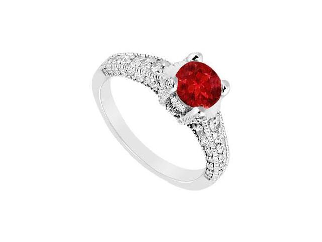 July Birthstone Created Ruby Milgrain Engagement Ring in 14kt White Gold 1.25 ct TGW