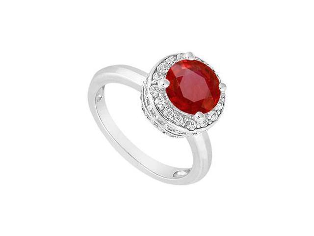 July Birthstone Created Ruby and CZ Halo Engagement Ring in 14K White Gold 1.00.ct.tw