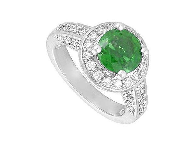 May Birthstone Created Emerald  CZ Halo Engagement Rings 14K White Gold 4 CT TGW