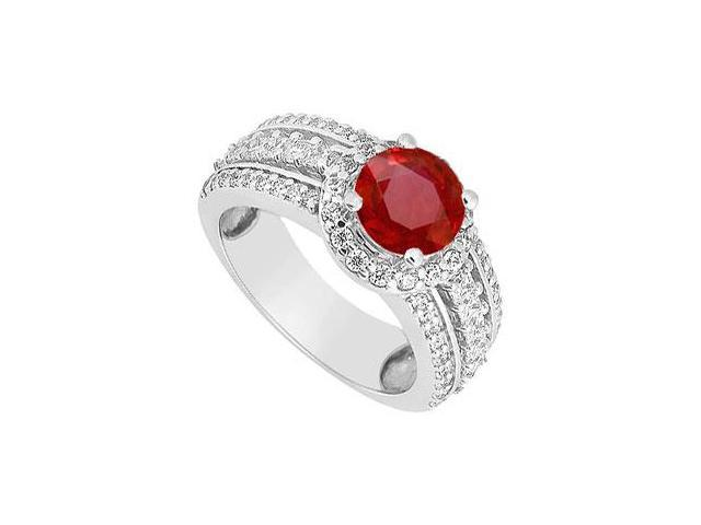 July birthstone Created Ruby Three Row Halo Engagement Ring in 14K White Gold 1.50.ct.tw