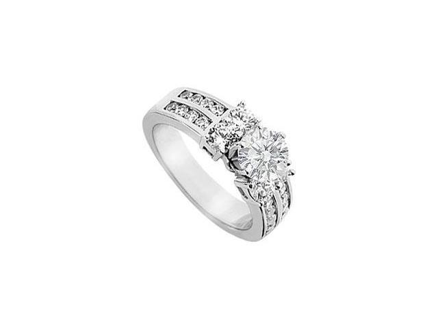 14K White Gold Semi Mount Engagement Ring with 1.25 Carat Diamonds Not Included Center Diamond