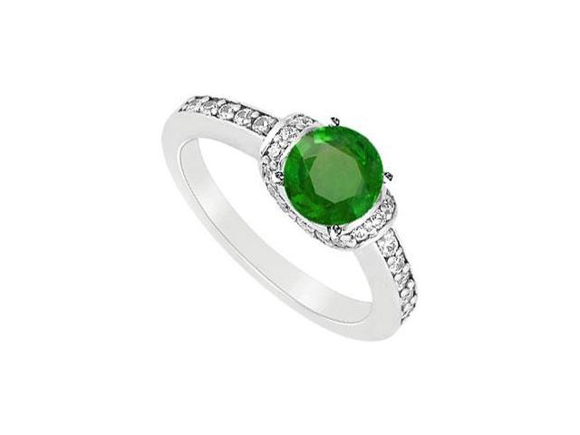 Emerald and Diamond Engagement Ring  14K White Gold - 1.25 CT TGW