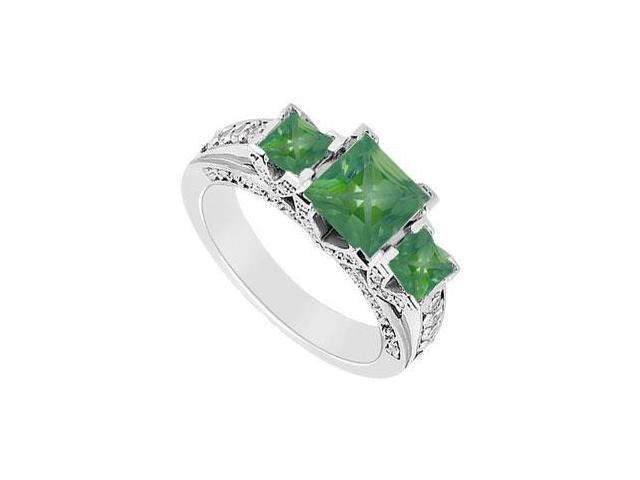 May Birthstone Created Emerald  CZ Three Stone Engagement Ring 14K White Gold 2.75 CT TGW