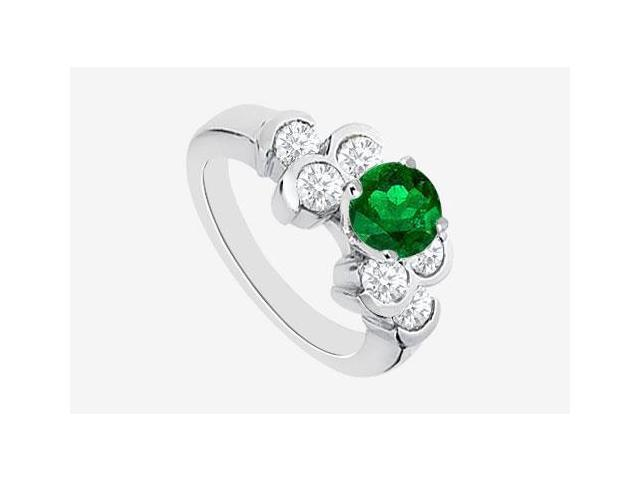 Diamond and Natural Emerald Engagement Ring in 14K White Gold 1.20 Carat TGW