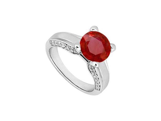 July Birthstone Created Ruby and CZ Engagement Ring in 14K White Gold 1.00.ct.tgw