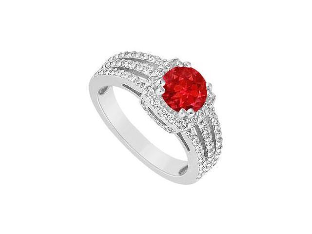 July birthstone Created Ruby Three Row Halo Engagement Ring with Split Prong 14K White Gold