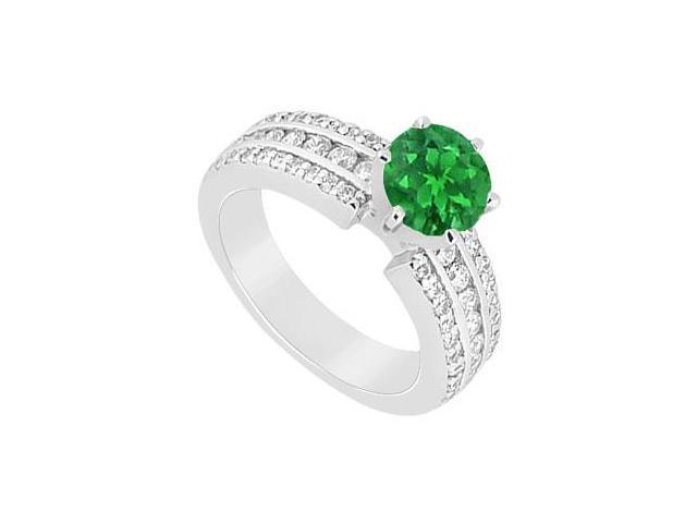 May Birthstone Created Emerald and CZ Engagement Ring in 14K White Gold 1.50 CT TGW