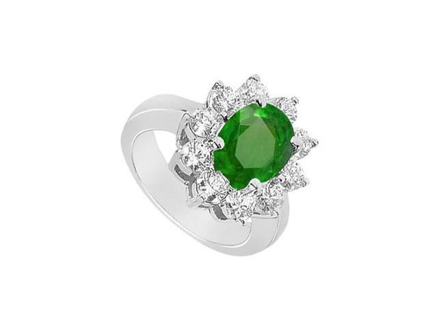 May Birthstone Created Emerald  CZ Floral Engagement Ring in 14kt White Gold 2.50 CT TGW