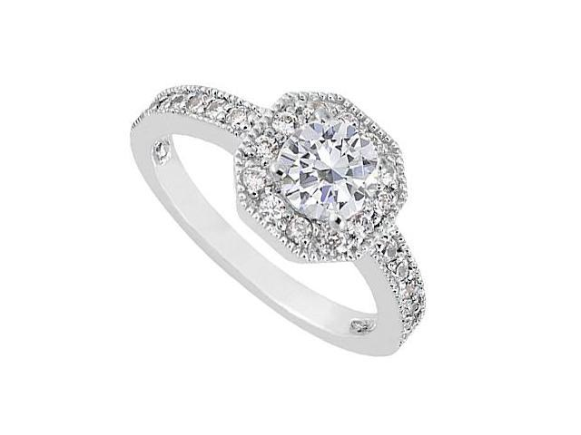 14K White Gold Diamond Milgrain Engagement Ring of 0.85 Carat Diamonds