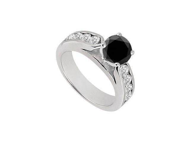 Black  White Diamond Engagement Ring 14K White Gold  0.75 CT TDW