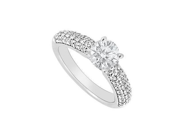 14K White Gold Semi Mount Engagement Ring with 0.60 Carat Diamonds Not Included Center Diamond