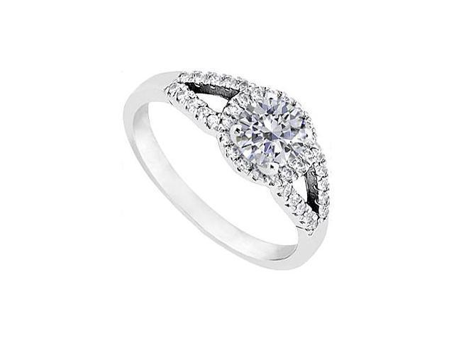 Round Split Shank Halo Diamond Ring in 14K White Gold 1.00.ct.tw