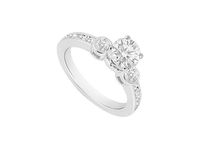 Diamond Engagement Ring 14K White Gold  0.85 CT TDW