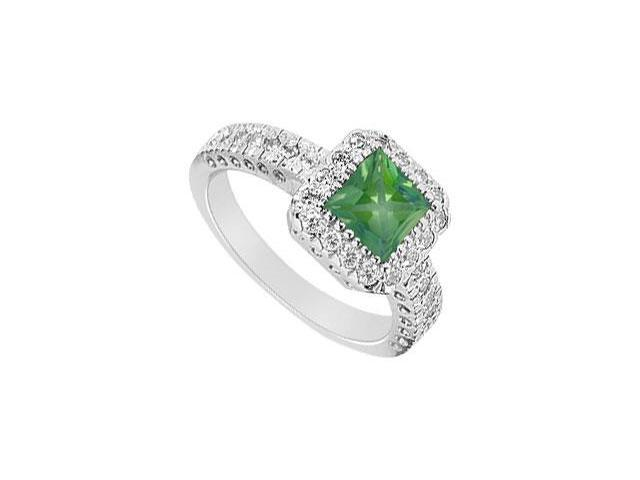 May Birthstone Created Emerald  CZ Halo Engagement Rings 14K White Gold 1.50 CT TGW